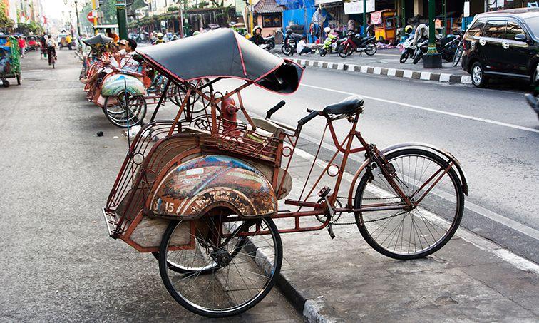 Déplacement en Becak à Yogyakarta