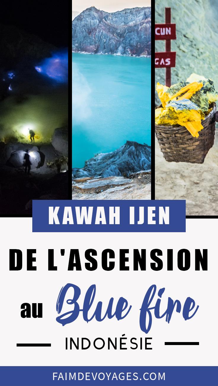 Vue du Kawah Ijen Et Le Blue Fire