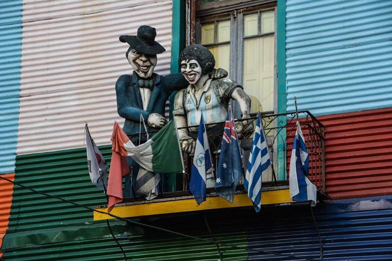 Vue dun balcon du quartier de la Boca à Buenos Aires en Argentine