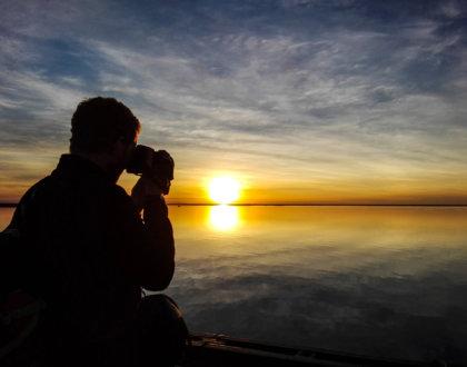 Esteros del Ibera Argentine coucher de soleil horizon miroir