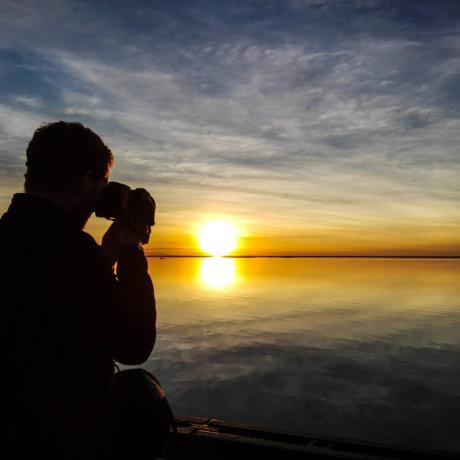 Estero del Ibera Argentine coucher de soleil horizon miroir postshow
