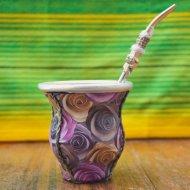 Mate et bombilla boisson traditionnelle Argentine motif fleuri