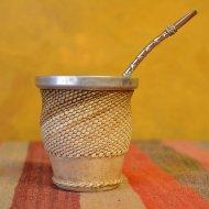 Mate et bombilla boisson traditionnelle Argentine metal couture cuir blanc