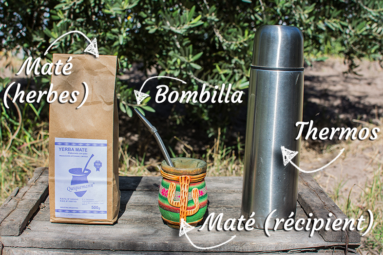 kit mate herbes boisson traditionnelle argentine recipient thermos bombilla