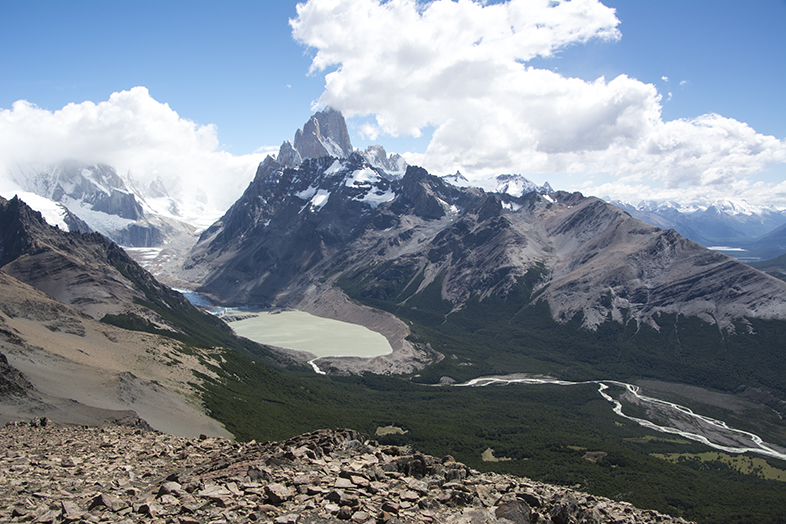 El Chalten trekking randonnee Loma del Pliegue Tombado sommet proche vue 360 degres Argentine