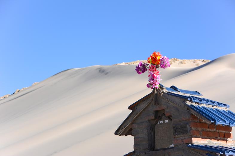Petit sanctuaire fleuri devant la dune de sable près d'Antofagasta de la Sierra