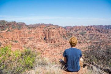 Parc National Sierra de las Quijadas province de San Luis Argentine tim admire le paysage du canyon postshow