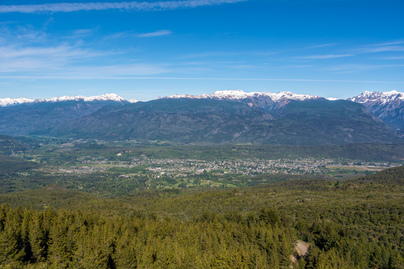 Vue sur El Bolson en Argentine depuis le Cerro Piltriquitron
