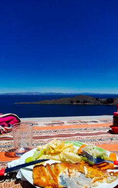 truite sur isla del sol avec vue sur lac titicaca bolivie 1