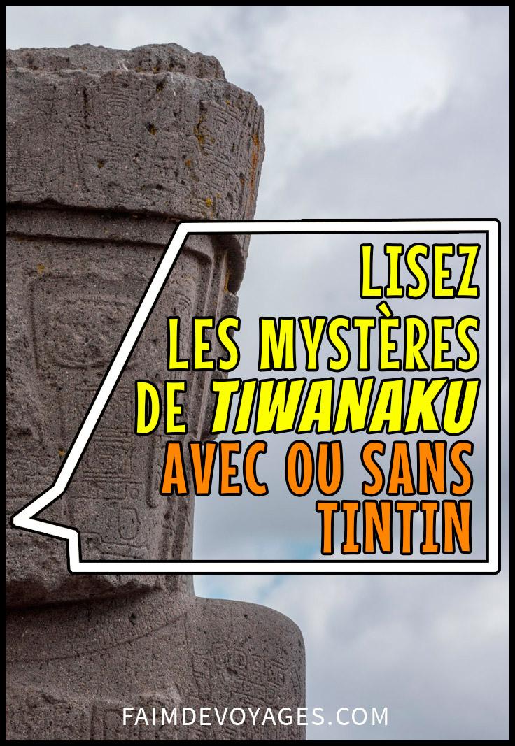 statue du monolithe ponce sur le site de Tiwanaku en Bolivie avec un phylactère