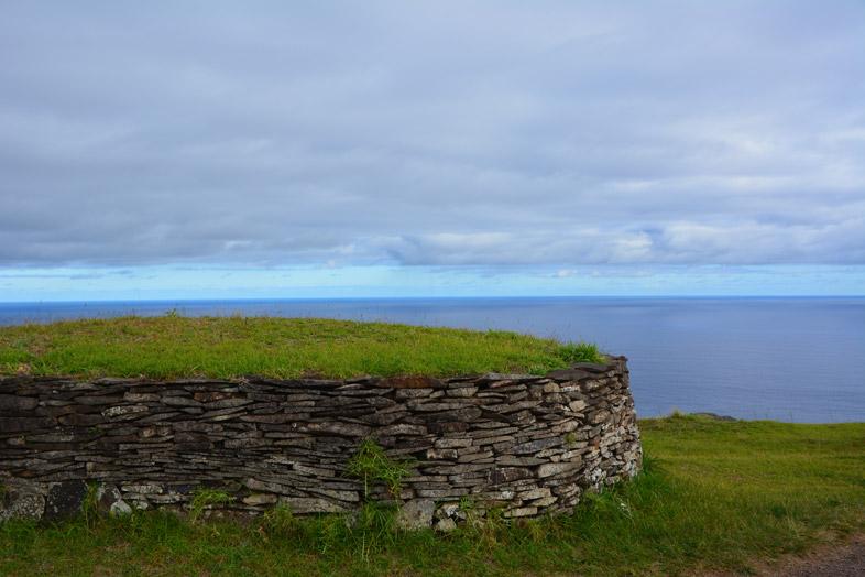Maison En Pierre Dans Le Village Rapa Nui D'orongo Sur L'île De Pâques