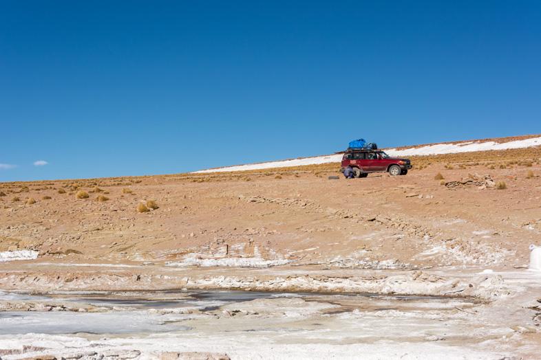 Encore Une Réparation Sur La Jeep En Bolivie Pendant Un Tour Organisé