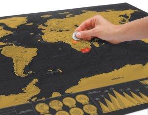 Carte Du Monde à Gratter Version Sombre fond noir et continents dorés