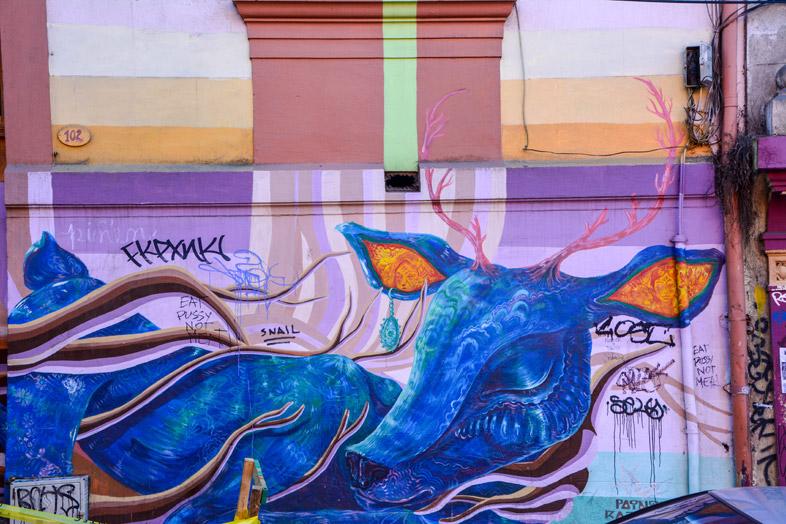 Cerf En Street Art Dans Une Ruelle De Valparaiso