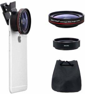 des objectifs photo pour smartphone avec la housse de rangement