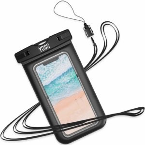 Pochette étanche bordures noires pour smartphone avec lanière