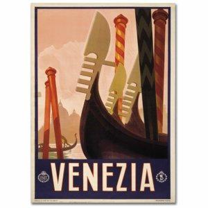 Poster Vintage Décoratif De Venise sur lequel on peut voir des gondoles stylisées et écrit en gros Venezia