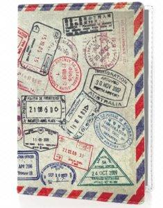 Protege Passeport Pour Les Voyageurs Reguliers Et Protection Rfid rempli de tampons de plein de pays avec bordure bleue et rouge