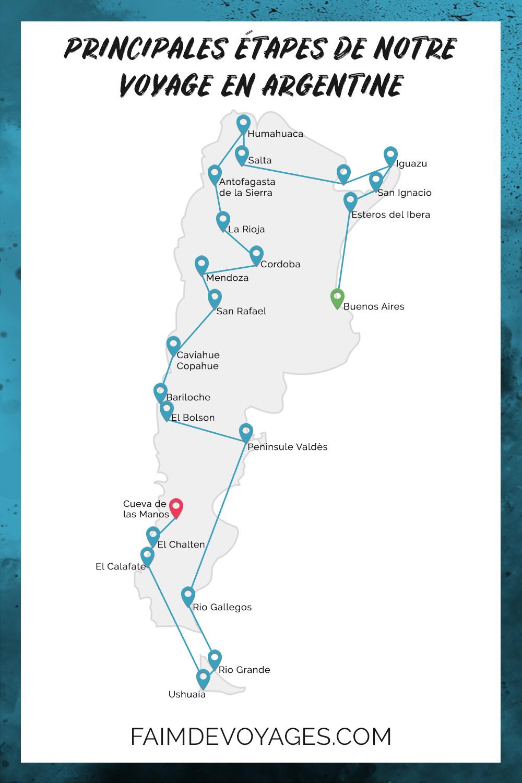 Carte de notre Itineraire de Voyage Longue Durée de 7 mois en Argentine