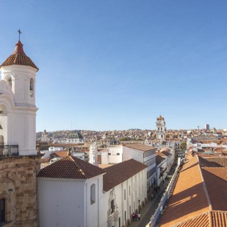 Vue De La Ville De Sucre En Bolivie Depuis Les Toits Postshow